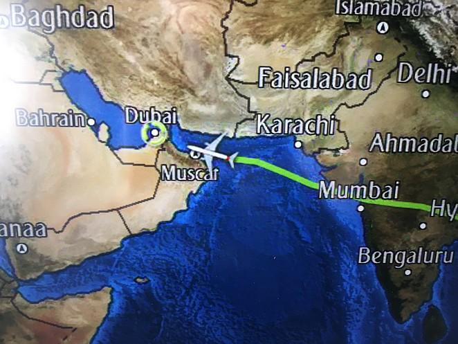 Vliegroute-naar-Dubai