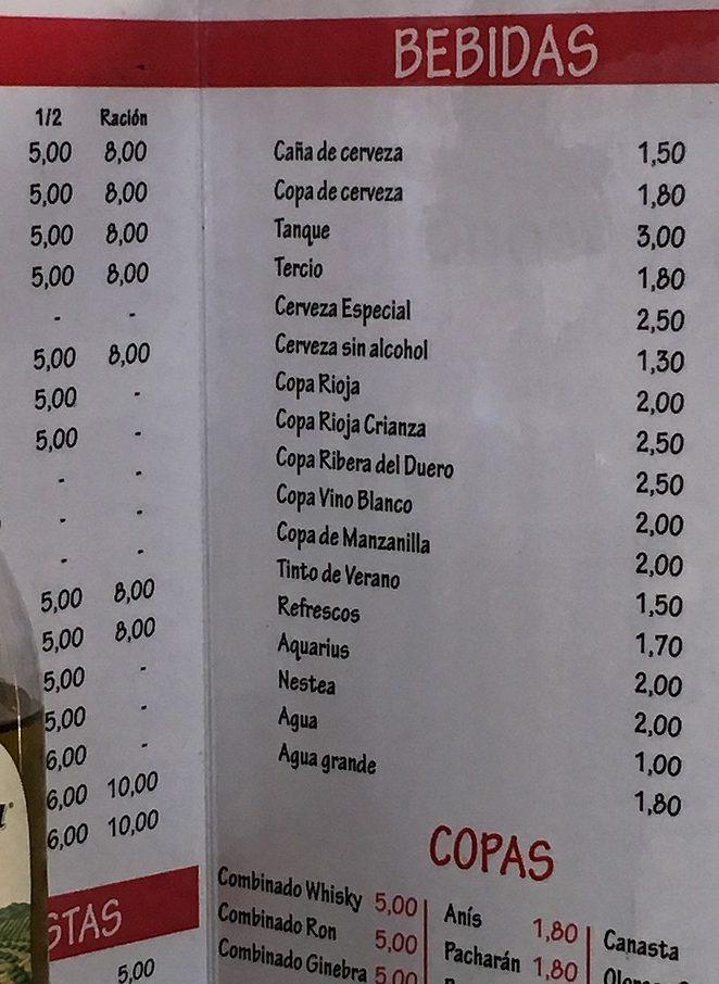 prijzen-spanje-bier-wijn-water