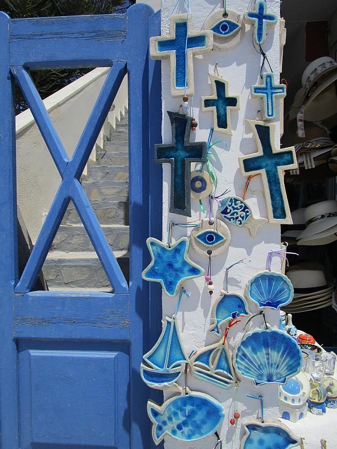 Blauw de kleur van Santorini