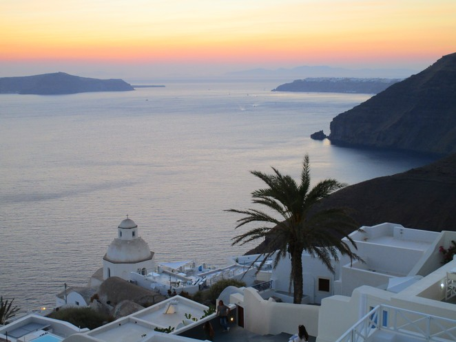 View sunset Fira Cyclades