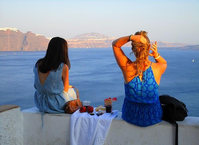 Wachten op zonsondergang Santorini