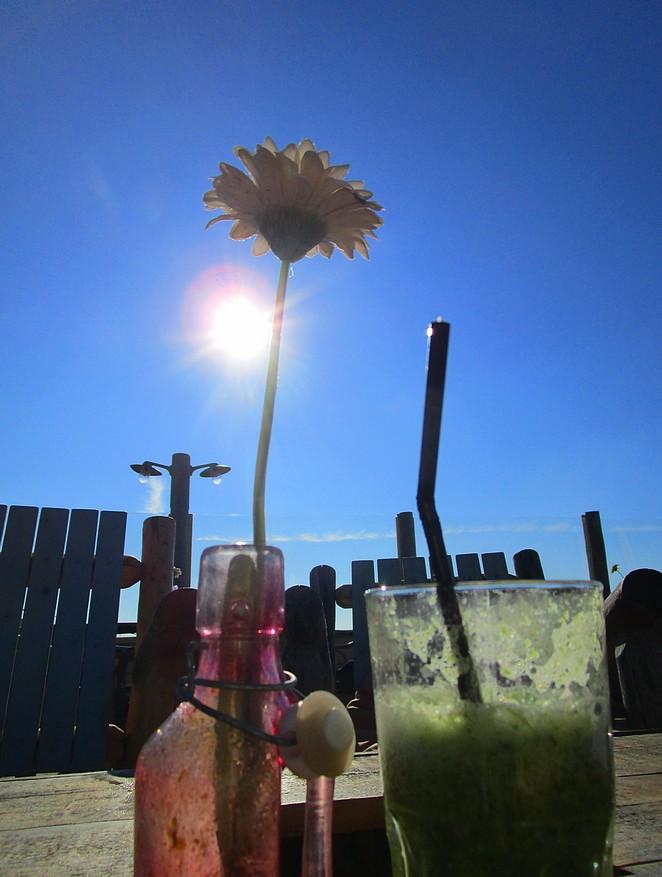 Veggie smoothie in de zon