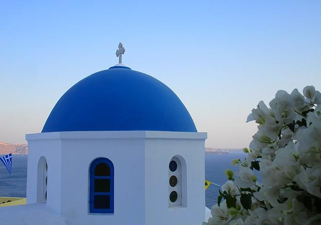Blauwe kapel op Santorini